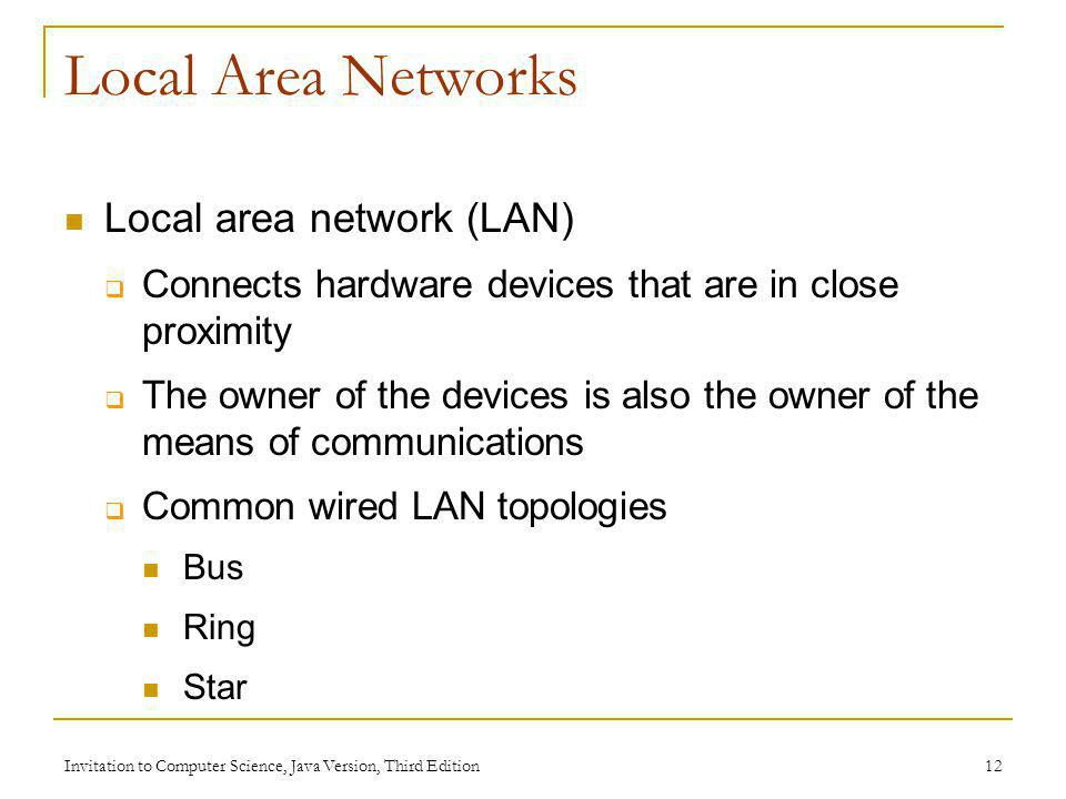 Invitation to Computer Science, Java Version, Third Edition 12 Local Area Networks Local area network (LAN) Connects hardware devices that are in clos