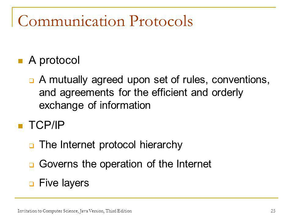 Invitation to Computer Science, Java Version, Third Edition 25 Communication Protocols A protocol A mutually agreed upon set of rules, conventions, an