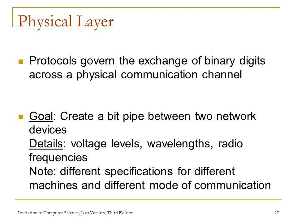 Invitation to Computer Science, Java Version, Third Edition 27 Physical Layer Protocols govern the exchange of binary digits across a physical communi