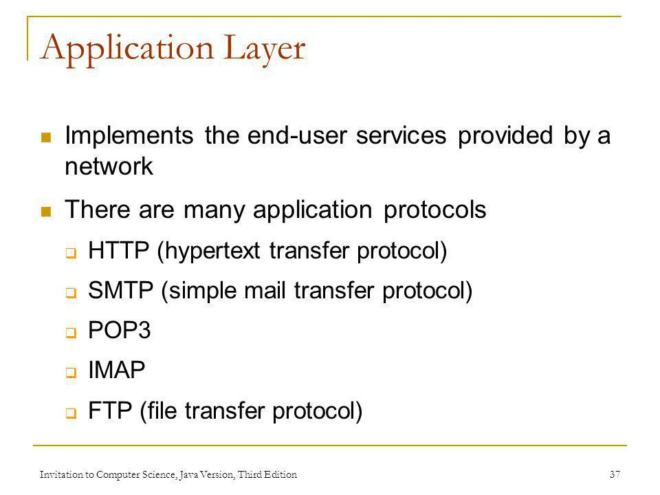 Invitation to Computer Science, Java Version, Third Edition 37 Application Layer Implements the end-user services provided by a network There are many