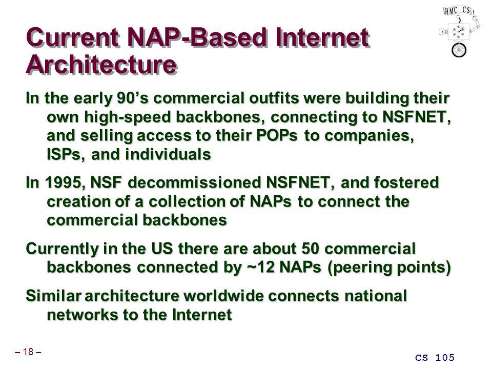 – 18 – CS 105 Current NAP-Based Internet Architecture In the early 90s commercial outfits were building their own high-speed backbones, connecting to NSFNET, and selling access to their POPs to companies, ISPs, and individuals In 1995, NSF decommissioned NSFNET, and fostered creation of a collection of NAPs to connect the commercial backbones Currently in the US there are about 50 commercial backbones connected by ~12 NAPs (peering points) Similar architecture worldwide connects national networks to the Internet