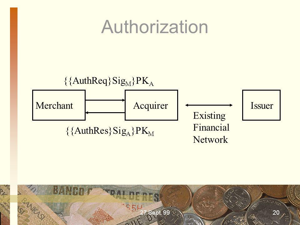 27 Sept. 9920 Authorization Merchant Acquirer Issuer {{AuthReq}Sig M }PK A {{AuthRes}Sig A }PK M Existing Financial Network