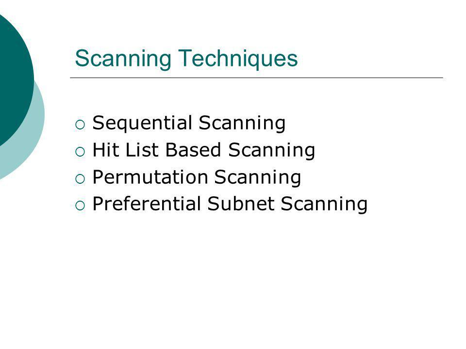 Scanning Techniques Sequential Scanning Hit List Based Scanning Permutation Scanning Preferential Subnet Scanning
