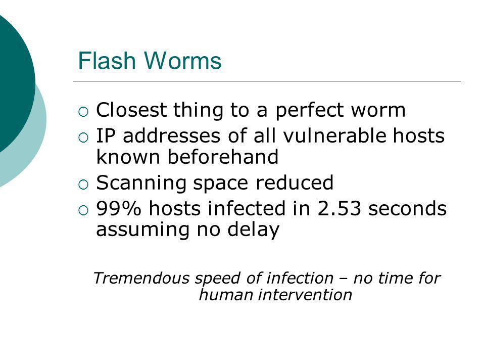 Flash Worms Closest thing to a perfect worm IP addresses of all vulnerable hosts known beforehand Scanning space reduced 99% hosts infected in 2.53 seconds assuming no delay Tremendous speed of infection – no time for human intervention