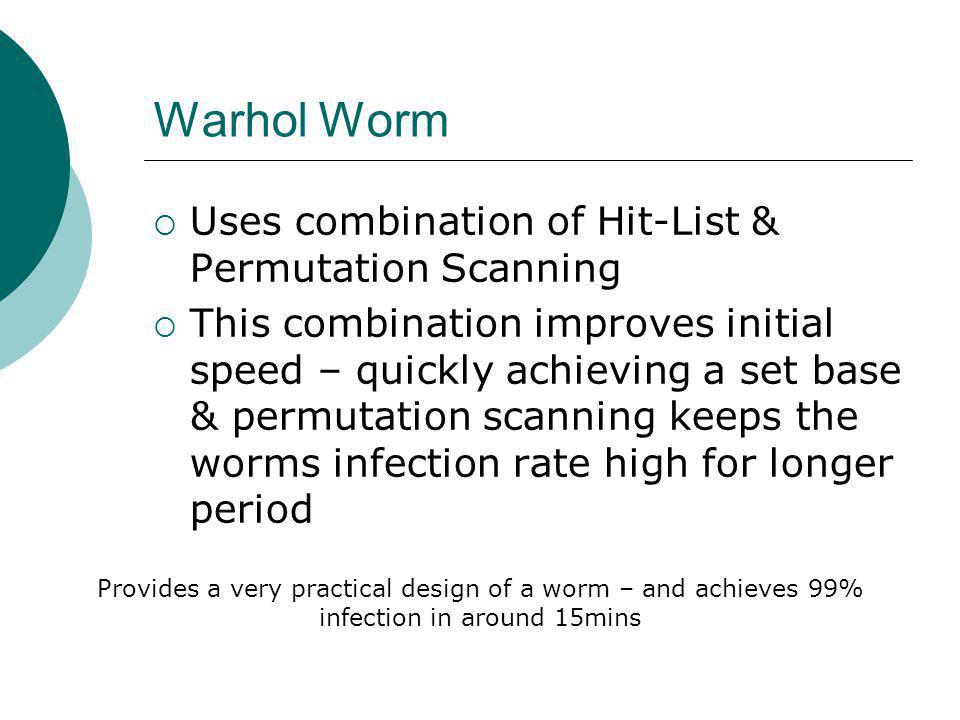 Warhol Worm Uses combination of Hit-List & Permutation Scanning This combination improves initial speed – quickly achieving a set base & permutation scanning keeps the worms infection rate high for longer period Provides a very practical design of a worm – and achieves 99% infection in around 15mins