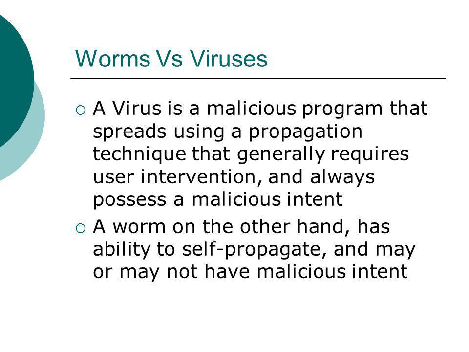 Worms Vs Viruses A Virus is a malicious program that spreads using a propagation technique that generally requires user intervention, and always possess a malicious intent A worm on the other hand, has ability to self-propagate, and may or may not have malicious intent