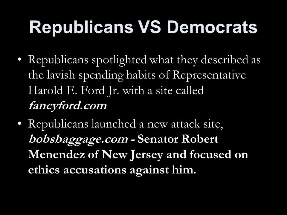 Republicans VS Democrats Republicans spotlighted what they described as the lavish spending habits of Representative Harold E.