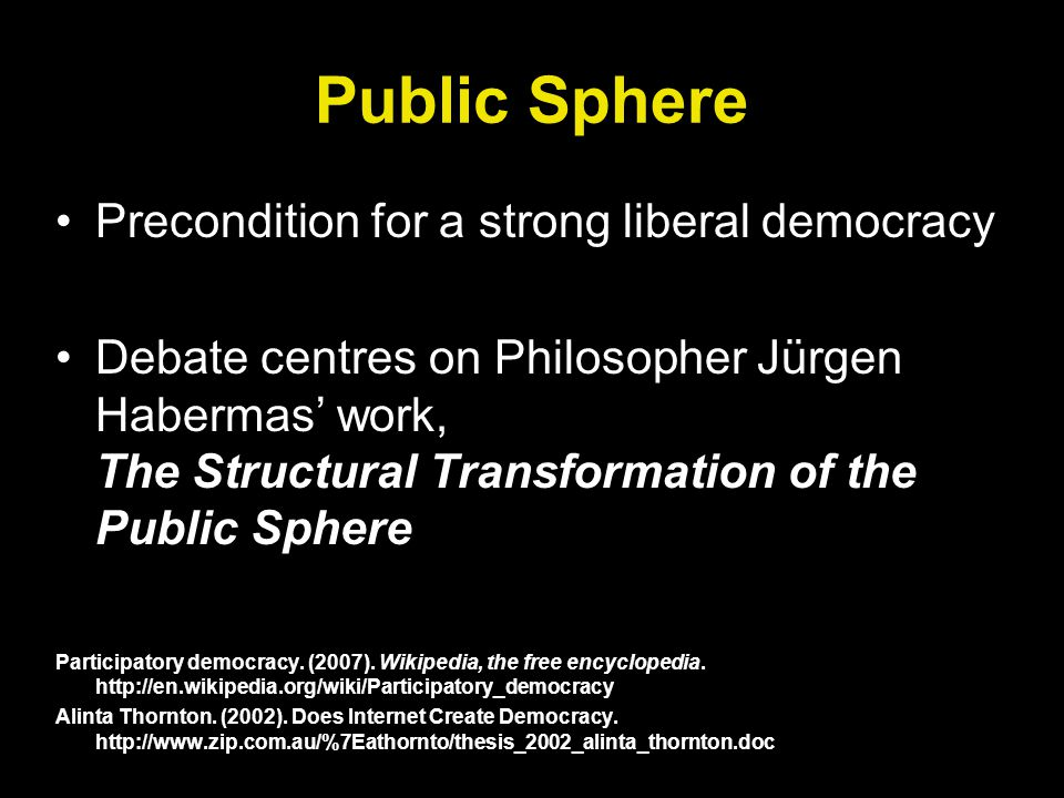 Public Sphere Precondition for a strong liberal democracy Debate centres on Philosopher Jürgen Habermas work, The Structural Transformation of the Public Sphere Participatory democracy.