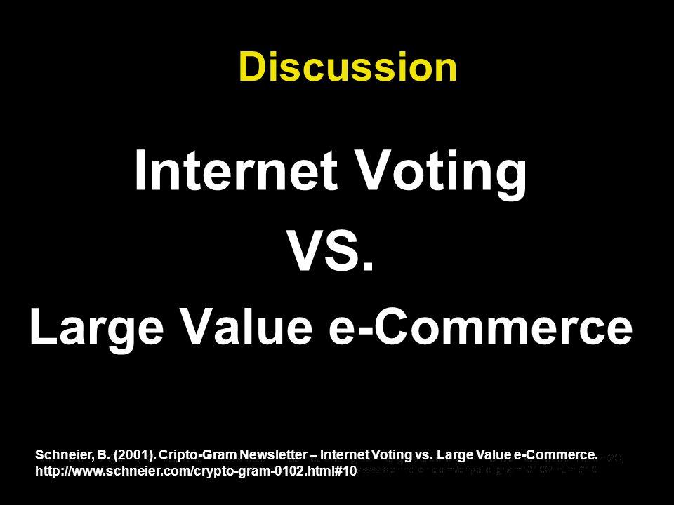 Discussion Internet Voting VS. Large Value e-Commerce Schneier, B.