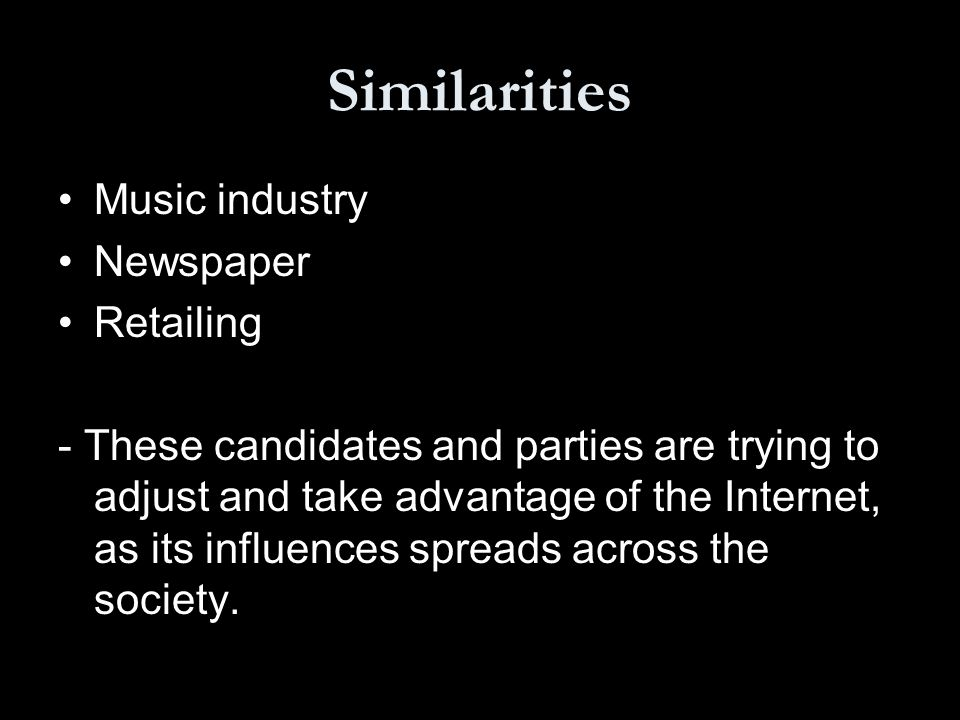Similarities Music industry Newspaper Retailing - These candidates and parties are trying to adjust and take advantage of the Internet, as its influences spreads across the society.