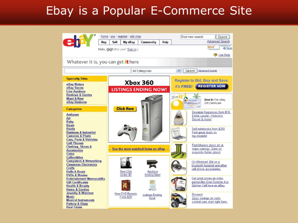 Ebay is a Popular E-Commerce Site