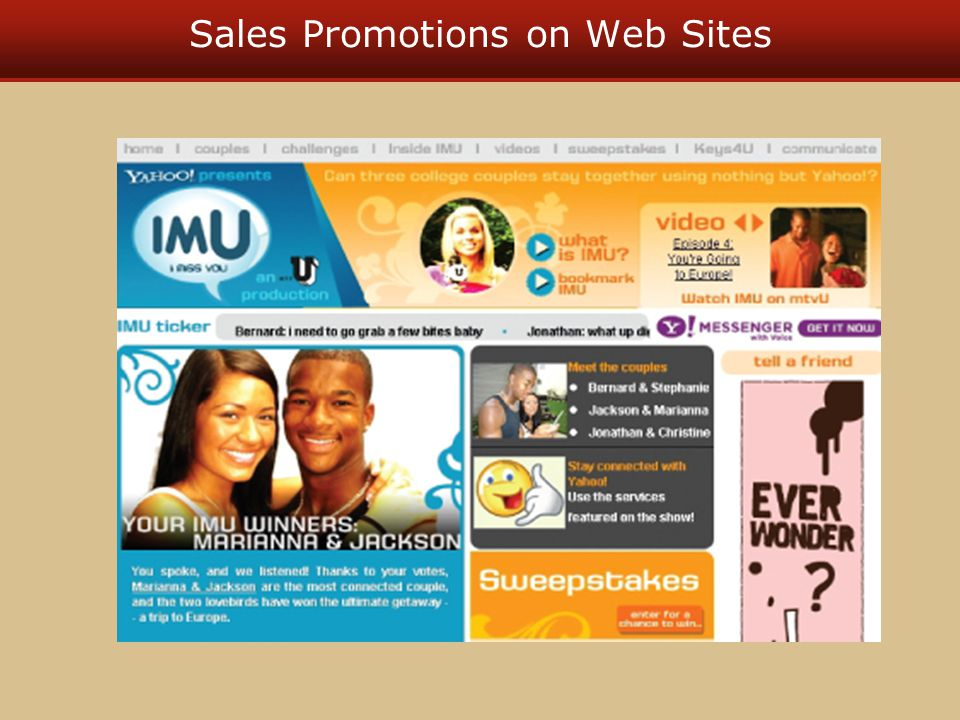 Sales Promotions on Web Sites