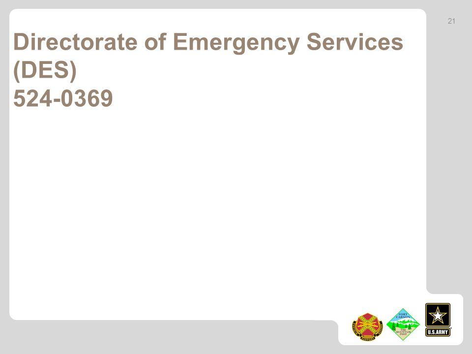 Directorate of Emergency Services (DES) 524-0369 21