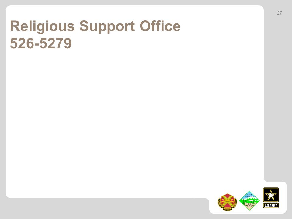 Religious Support Office 526-5279 27