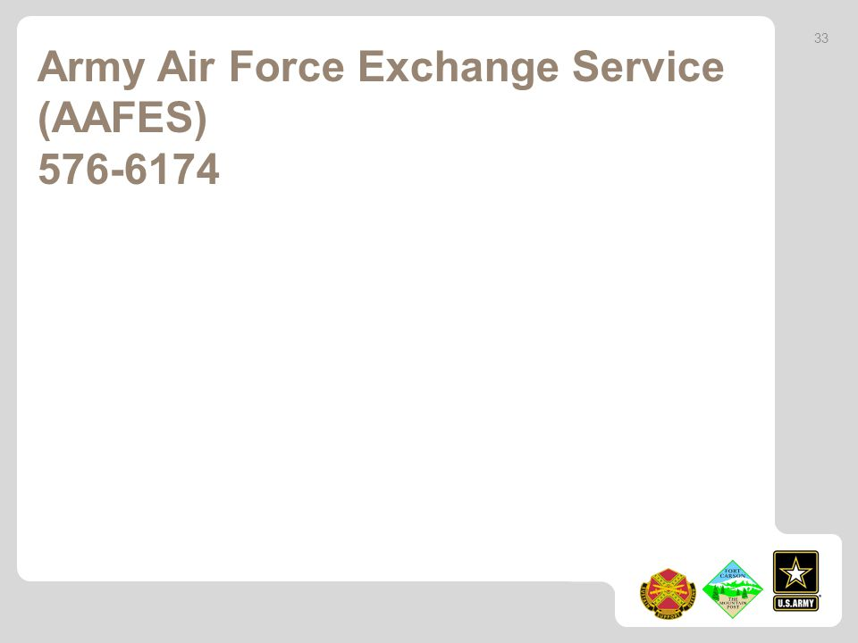 Army Air Force Exchange Service (AAFES) 576-6174 33