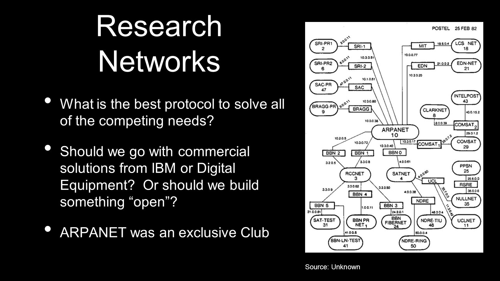 Research Networks What is the best protocol to solve all of the competing needs? Should we go with commercial solutions from IBM or Digital Equipment?