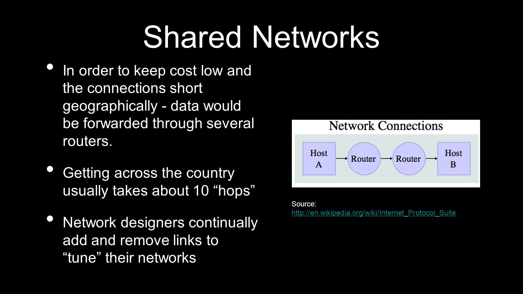 Shared Networks In order to keep cost low and the connections short geographically - data would be forwarded through several routers. Getting across t