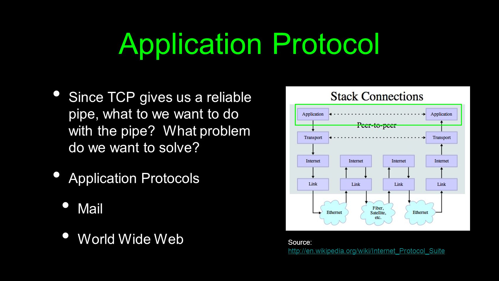 Application Protocol Since TCP gives us a reliable pipe, what to we want to do with the pipe? What problem do we want to solve? Application Protocols