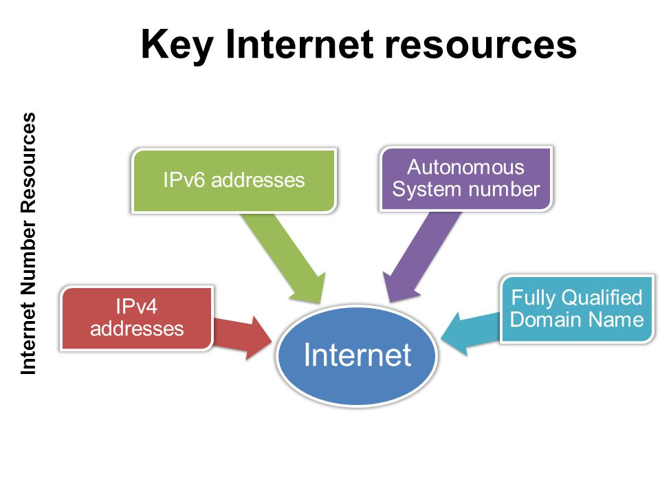 Internet IPv4 addresses IPv6 addresses Autonomous System number Fully Qualified Domain Name Key Internet resources