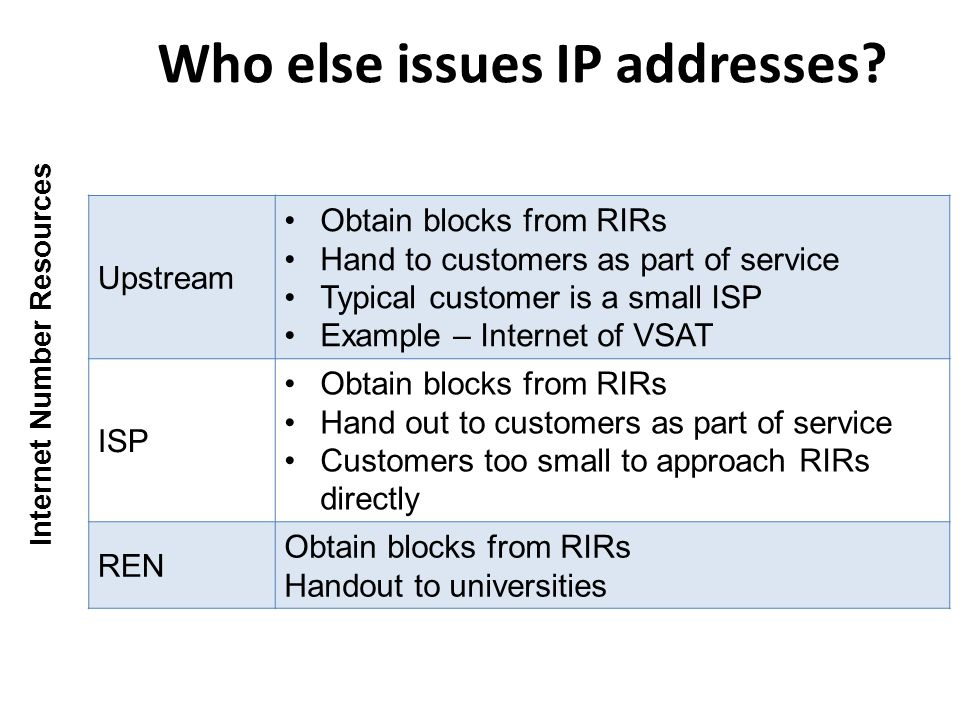 Who else issues IP addresses.