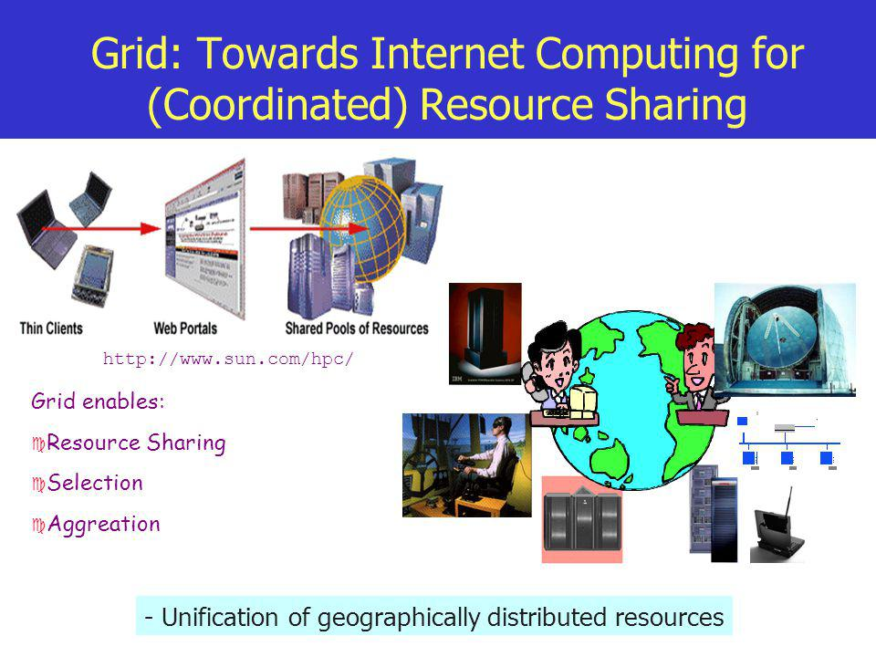 Grid: Towards Internet Computing for (Coordinated) Resource Sharing - Unification of geographically distributed resources http://www.sun.com/hpc/ Grid