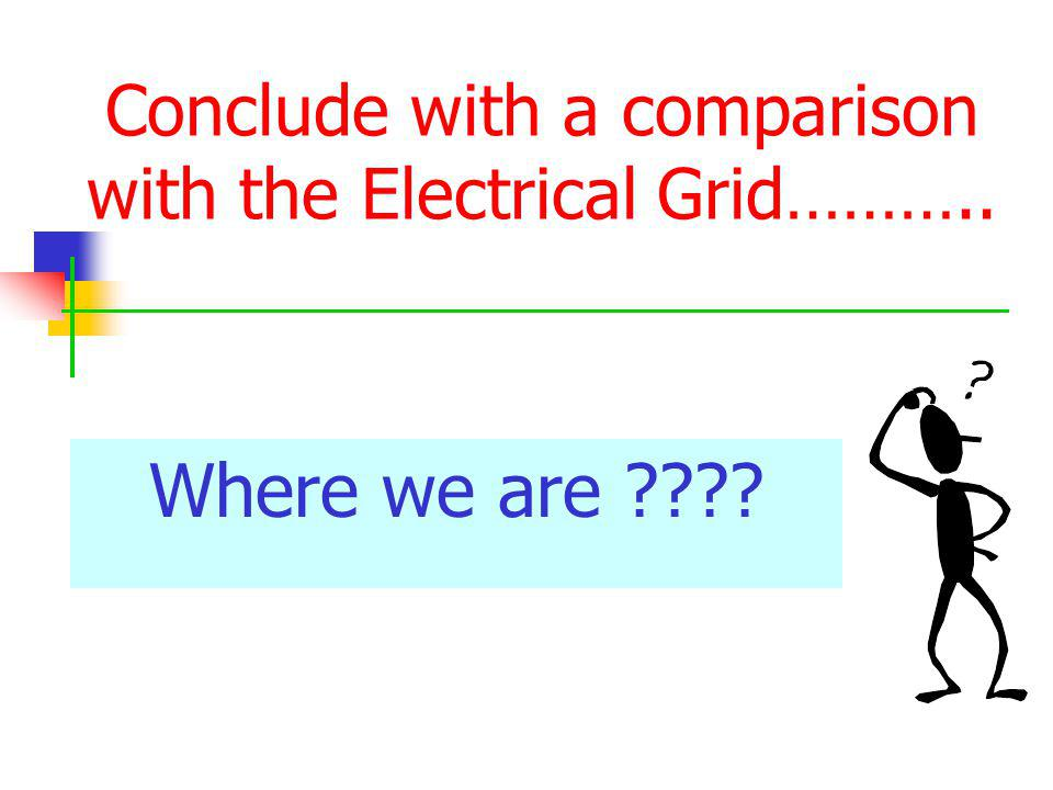 Conclude with a comparison with the Electrical Grid……….. Where we are ????