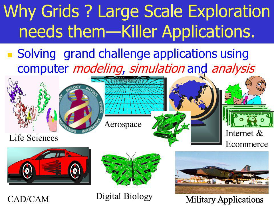 Why Grids ? Large Scale Exploration needs themKiller Applications. Solving grand challenge applications using computer modeling, simulation and analys