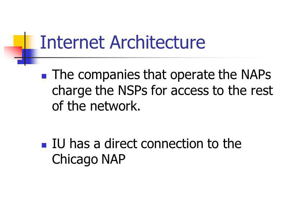 Internet Architecture The companies that operate the NAPs charge the NSPs for access to the rest of the network.