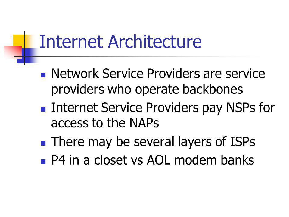 Internet Architecture Network Service Providers are service providers who operate backbones Internet Service Providers pay NSPs for access to the NAPs There may be several layers of ISPs P4 in a closet vs AOL modem banks