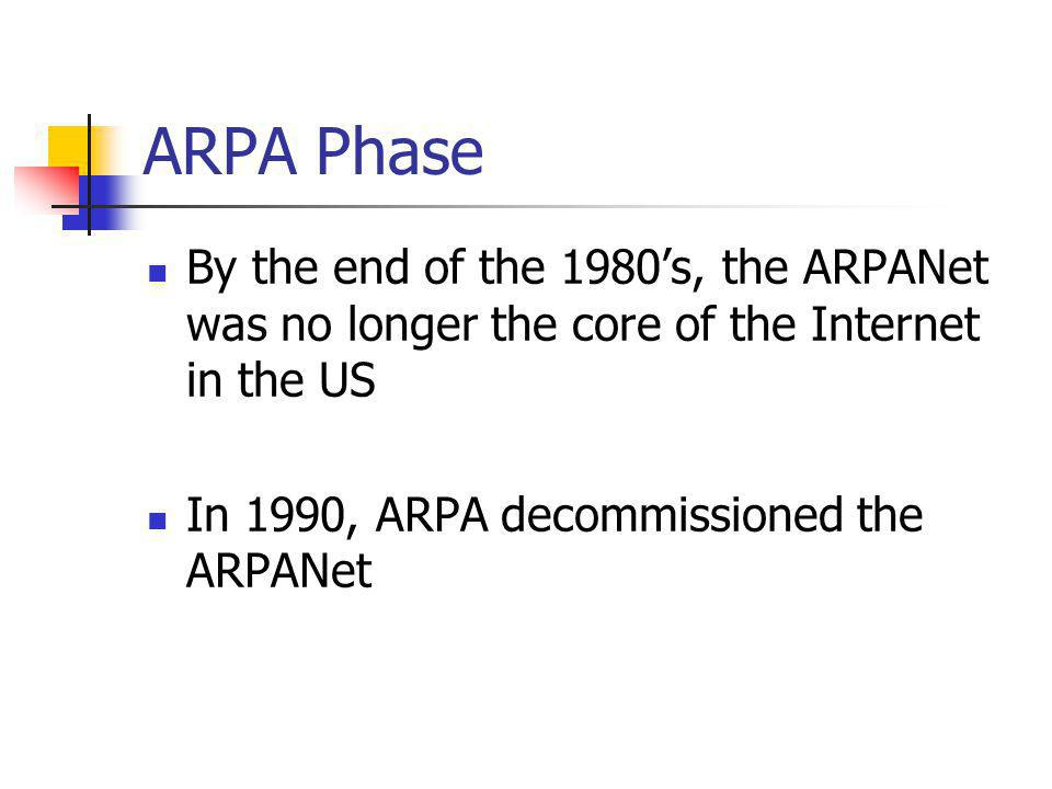 ARPA Phase By the end of the 1980s, the ARPANet was no longer the core of the Internet in the US In 1990, ARPA decommissioned the ARPANet