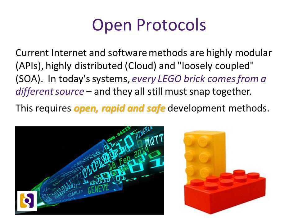 Open Protocols Current Internet and software methods are highly modular (APIs), highly distributed (Cloud) and