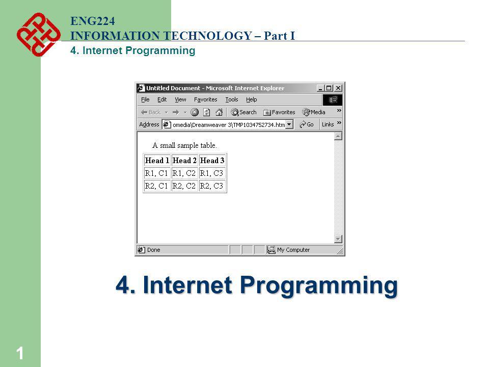 1 ENG224 INFORMATION TECHNOLOGY – Part I 4. Internet Programming