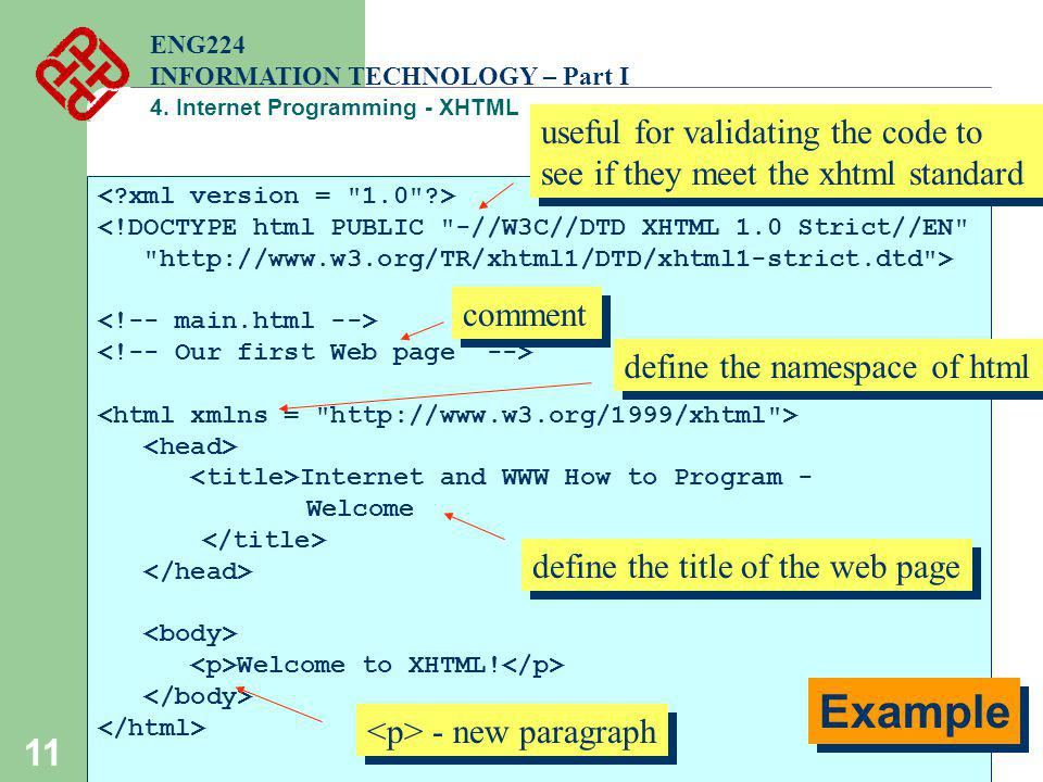 11 ENG224 INFORMATION TECHNOLOGY – Part I 4. Internet Programming - XHTML <!DOCTYPE html PUBLIC