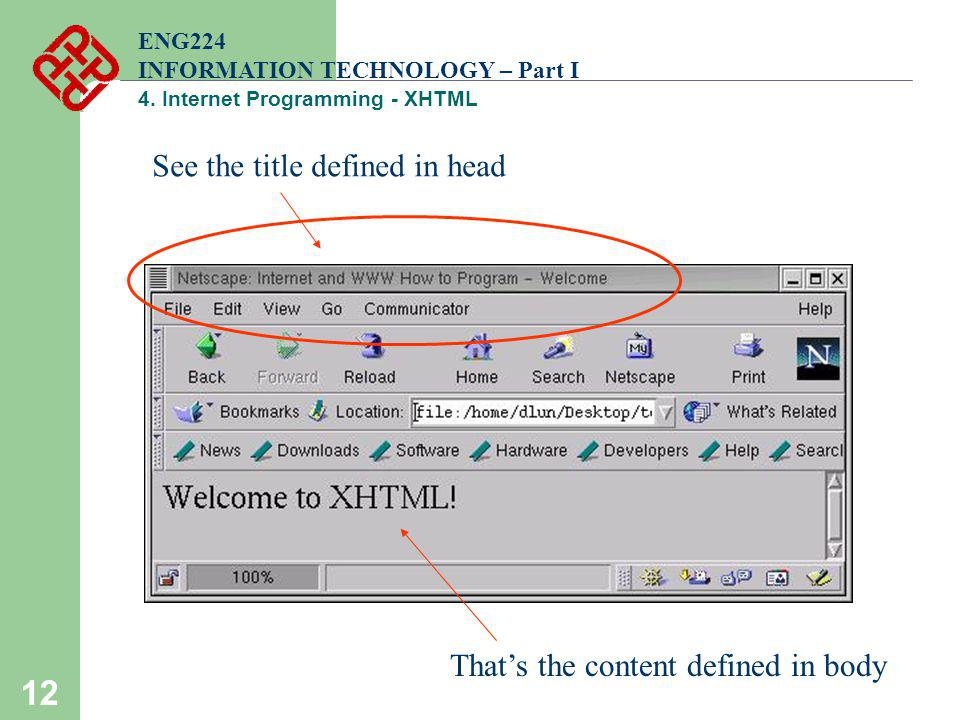 12 ENG224 INFORMATION TECHNOLOGY – Part I 4. Internet Programming - XHTML See the title defined in head Thats the content defined in body