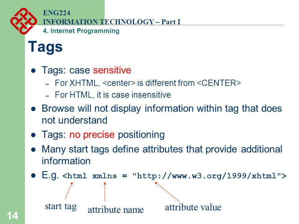 14 Tags Tags: case sensitive – For XHTML, is different from – For HTML, it is case insensitive Browse will not display information within tag that doe