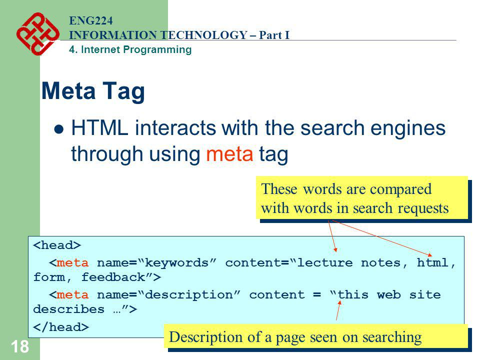 18 Meta Tag HTML interacts with the search engines through using meta tag ENG224 INFORMATION TECHNOLOGY – Part I 4. Internet Programming These words a