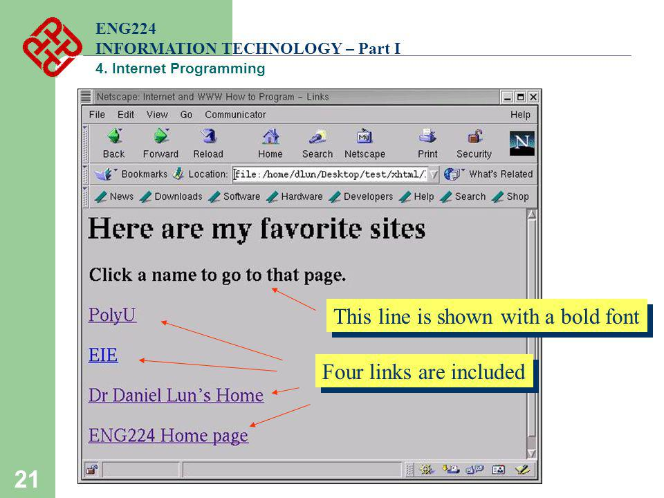 21 ENG224 INFORMATION TECHNOLOGY – Part I 4. Internet Programming Four links are included This line is shown with a bold font
