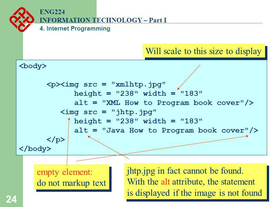 24 ENG224 INFORMATION TECHNOLOGY – Part I 4. Internet Programming <img src =