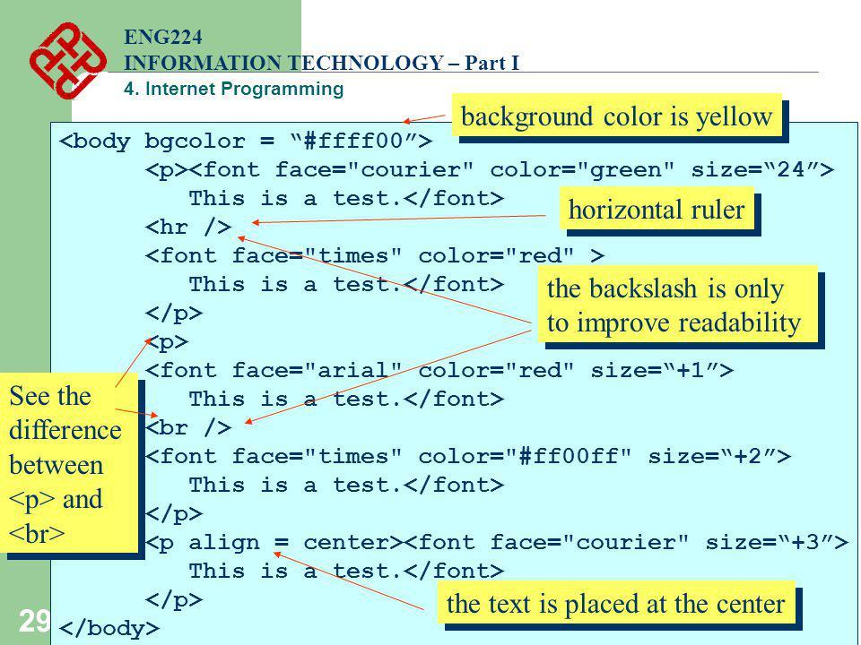 29 This is a test. This is a test. This is a test. This is a test. This is a test. ENG224 INFORMATION TECHNOLOGY – Part I 4. Internet Programming hori