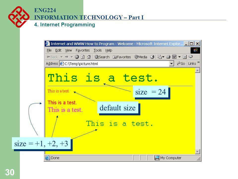 30 ENG224 INFORMATION TECHNOLOGY – Part I 4. Internet Programming default size size = +1, +2, +3 size = 24