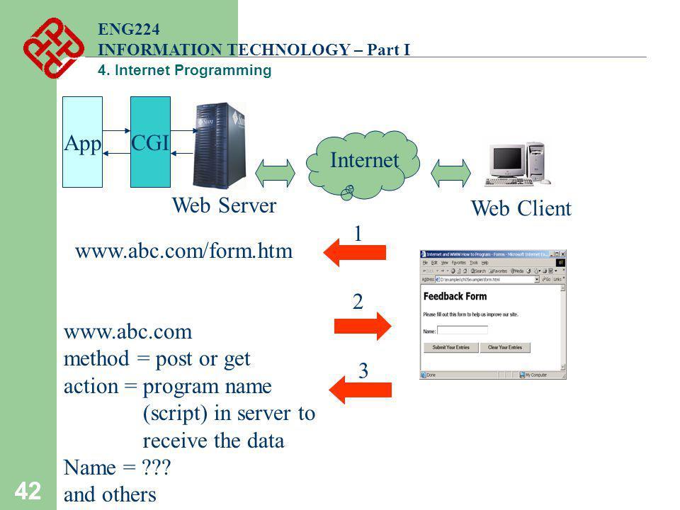 42 ENG224 INFORMATION TECHNOLOGY – Part I 4. Internet Programming Web Client Web Server Internet www.abc.com/form.htm 1 2 www.abc.com method = post or