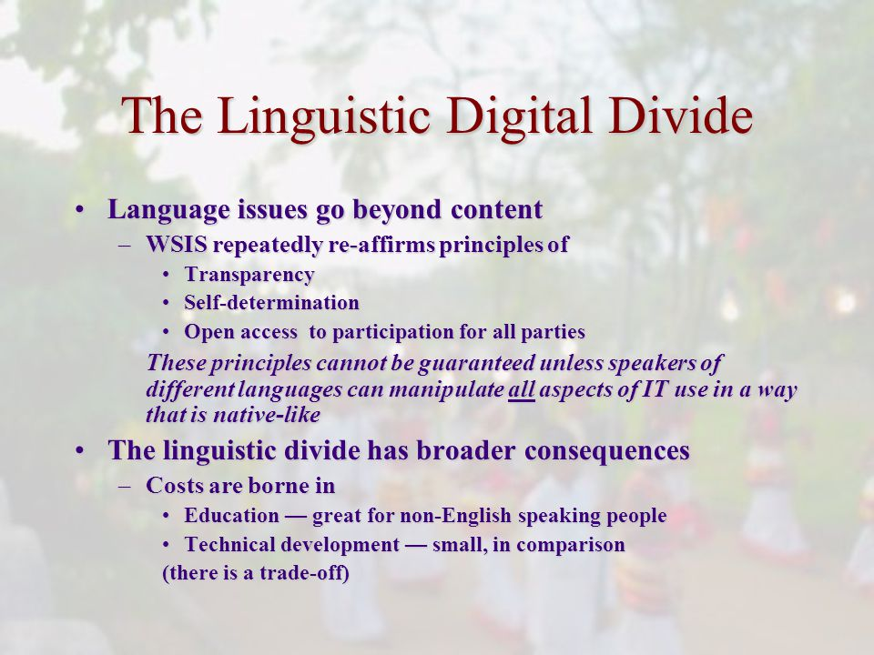 The Linguistic Digital Divide Language issues go beyond contentLanguage issues go beyond content –WSIS repeatedly re-affirms principles of TransparencyTransparency Self-determinationSelf-determination Open access to participation for all partiesOpen access to participation for all parties These principles cannot be guaranteed unless speakers of different languages can manipulate all aspects of IT use in a way that is native-like The linguistic divide has broader consequencesThe linguistic divide has broader consequences –Costs are borne in Education great for non-English speaking peopleEducation great for non-English speaking people Technical development small, in comparisonTechnical development small, in comparison (there is a trade-off)