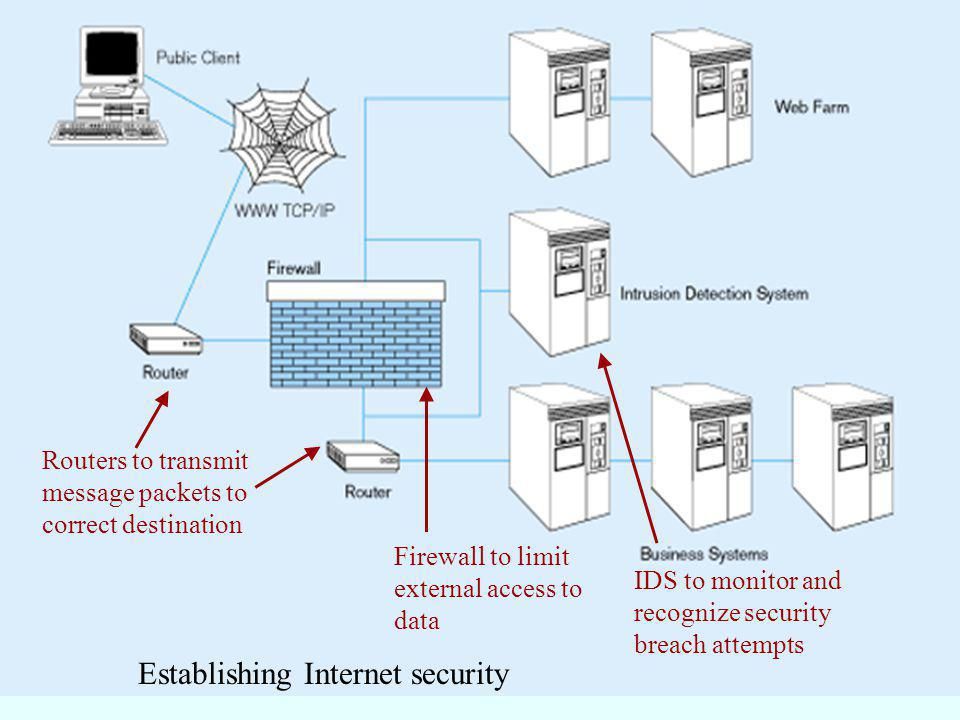 31 Establishing Internet security Firewall to limit external access to data Routers to transmit message packets to correct destination IDS to monitor