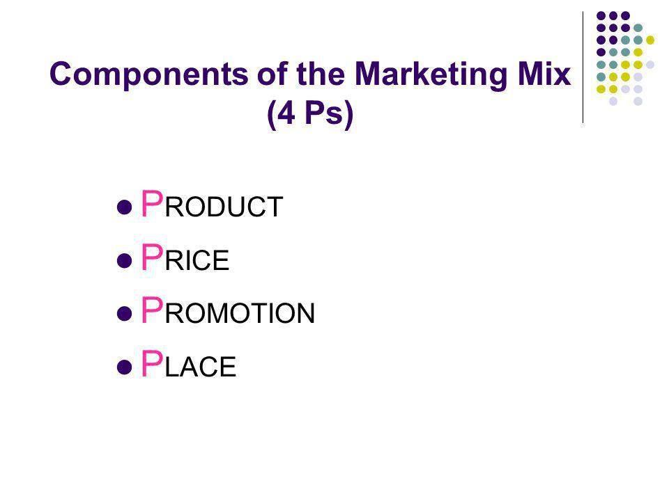 Components of the Marketing Mix (4 Ps) P RODUCT P RICE P ROMOTION P LACE