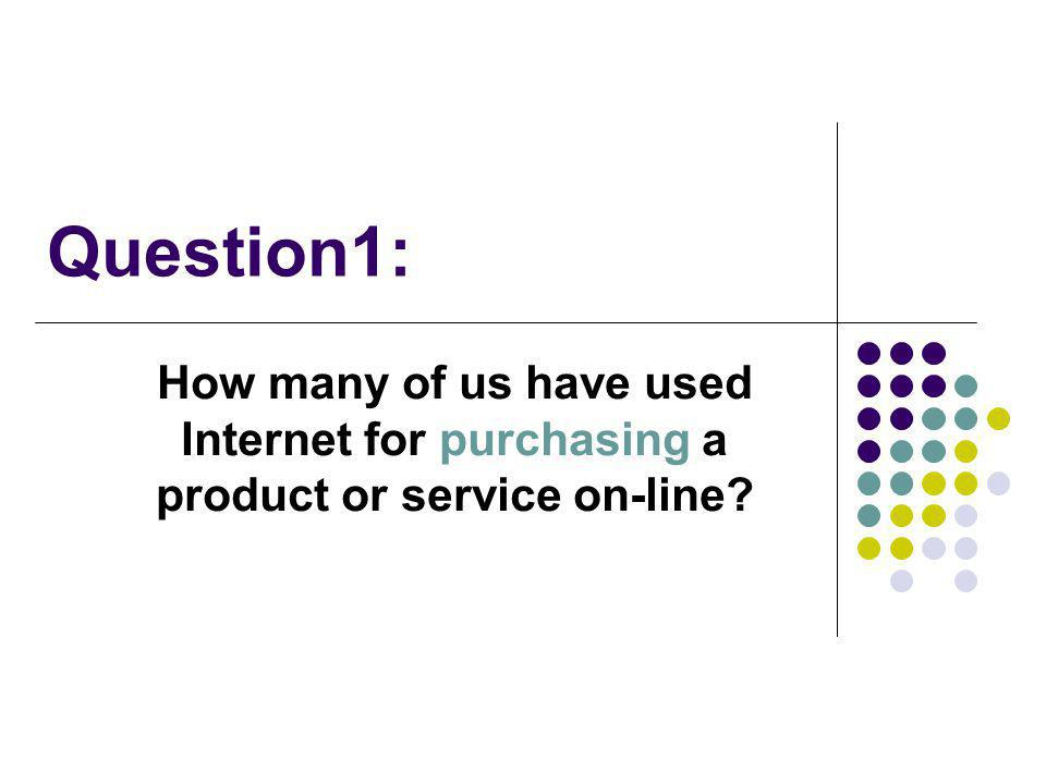 Question1: How many of us have used Internet for purchasing a product or service on-line?
