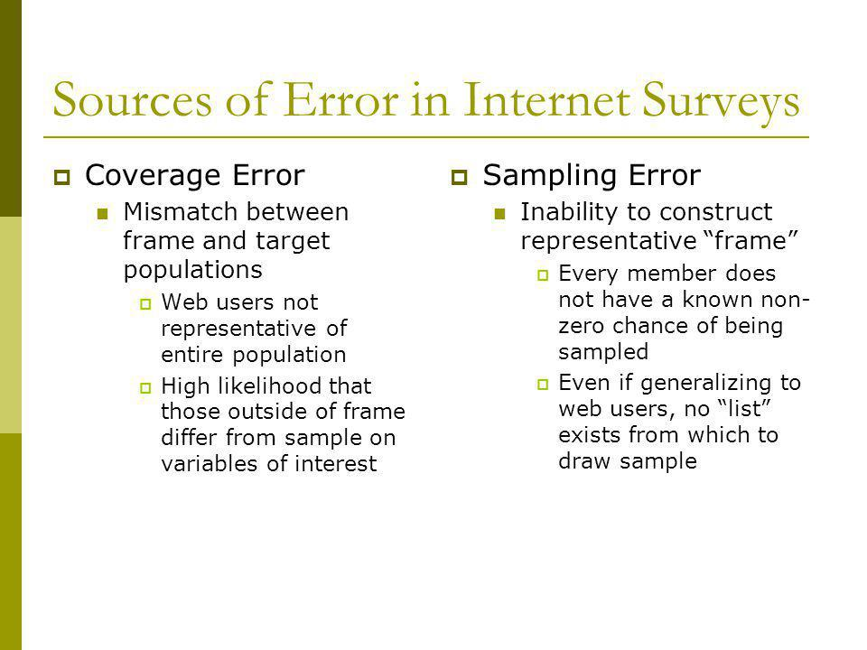 Sources of Error in Internet Surveys Non-Response Error Inability to use common motivating tools similar to increase response rates for less responsive populations (e.g.