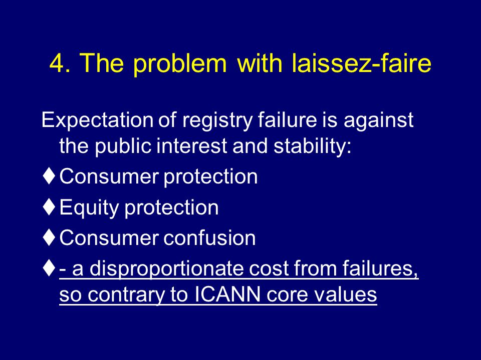 4. The problem with laissez-faire Expectation of registry failure is against the public interest and stability: tConsumer protection tEquity protectio