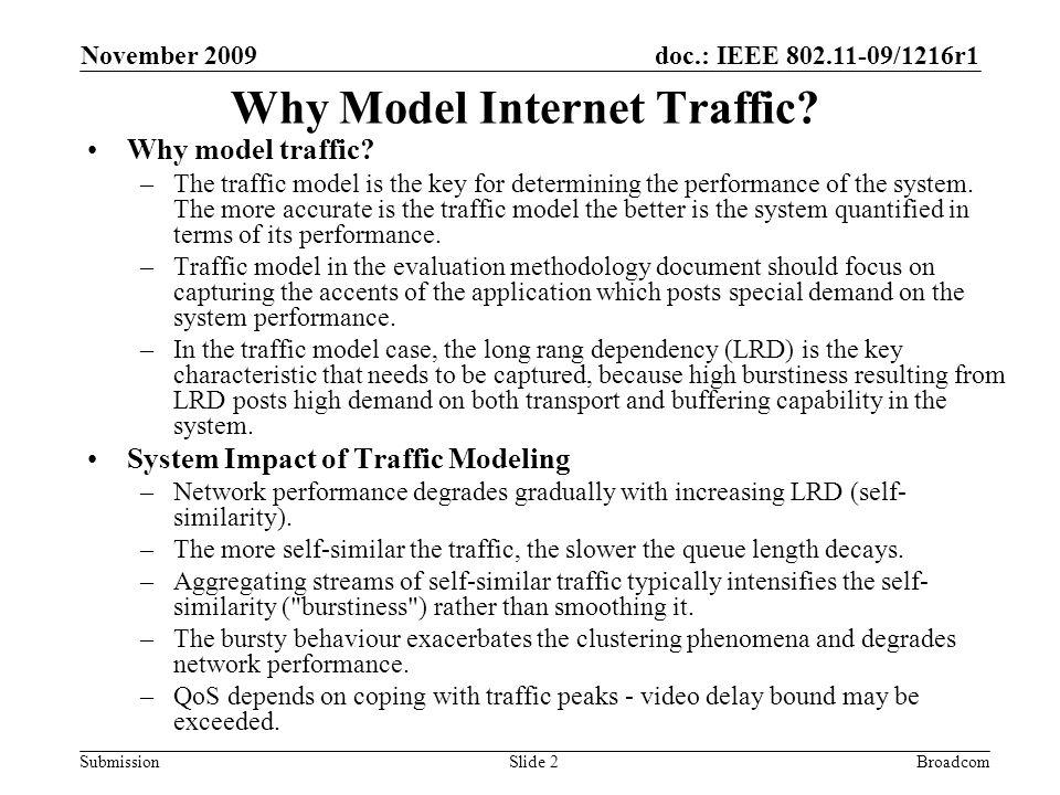 doc.: IEEE 802.11-09/1216r1 Submission November 2009 BroadcomSlide 2 Why Model Internet Traffic.