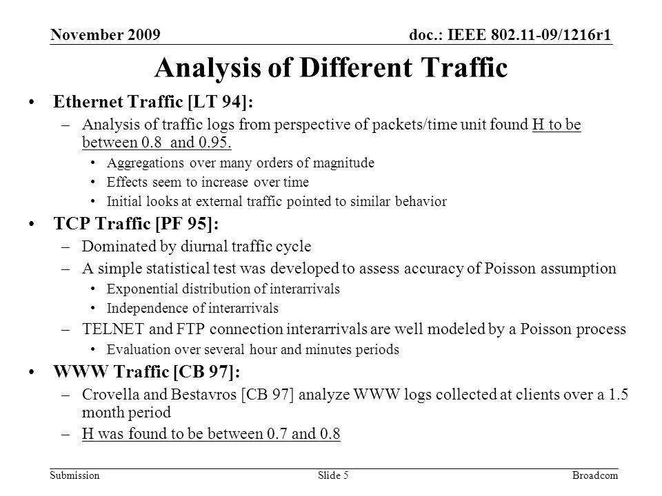 doc.: IEEE 802.11-09/1216r1 Submission November 2009 BroadcomSlide 6 Generating Self Similar Traffic to Model Internet Traffic in TGad (1) Traditional traffic models: finite variance ON/OFF source models –Superposition of such sources behaves like white noise, with only short range correlations Lengths of ON and OFF periods are iid positive random variables, U k Suppose that U has a hyperbolic tail distribution, Property (1) is the infinite variance syndrome or the Noah Effect.