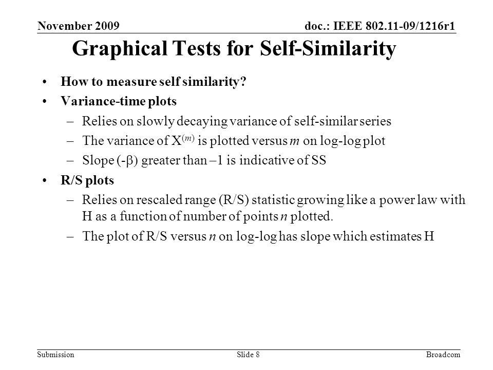 doc.: IEEE 802.11-09/1216r1 Submission November 2009 BroadcomSlide 8 Graphical Tests for Self-Similarity How to measure self similarity.